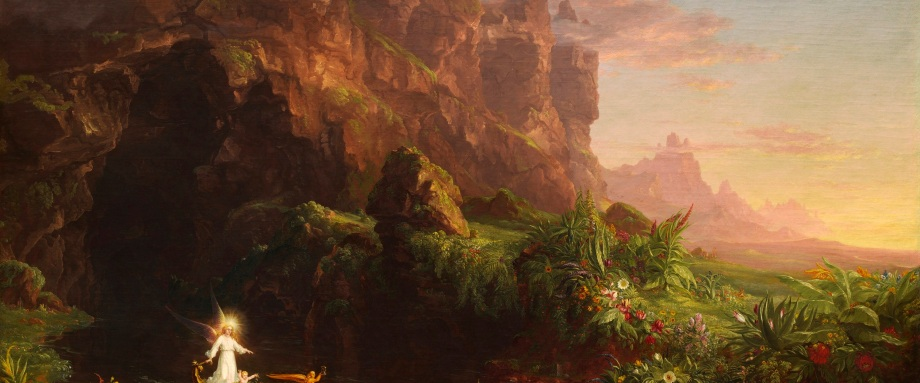 cole thomas,the voyage of life childhood, 1842, montagne, fiume, fiori, paesaggio naturale, luce, infanzia, il fiume della vita, angelo custode