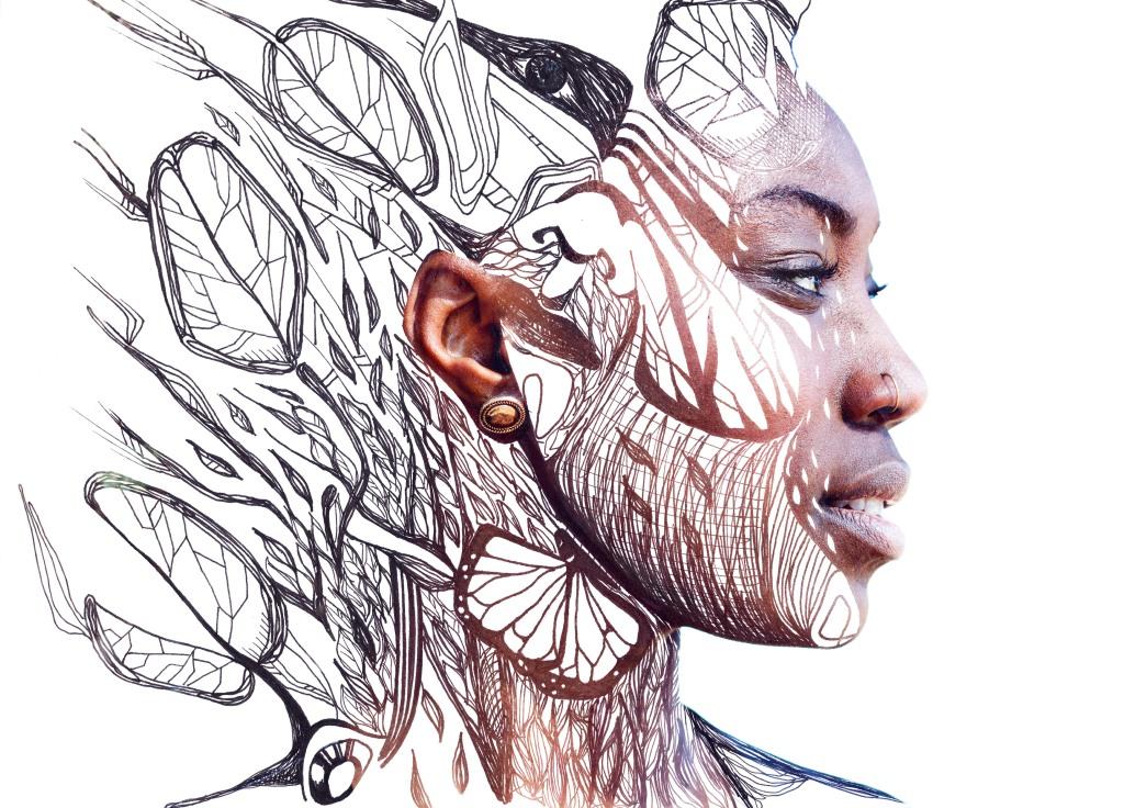illustrazione artwork su profilo di ragazza di colore